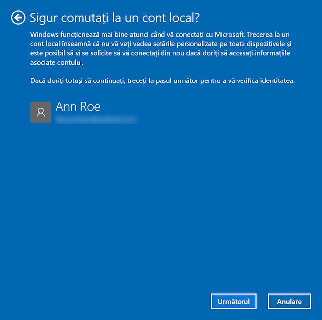 Comută la un cont local în Windows 10