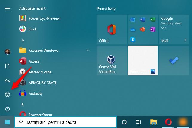 Deschide Setări în Windows 10