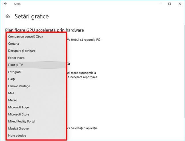 Lista de aplicații din Microsoft Store