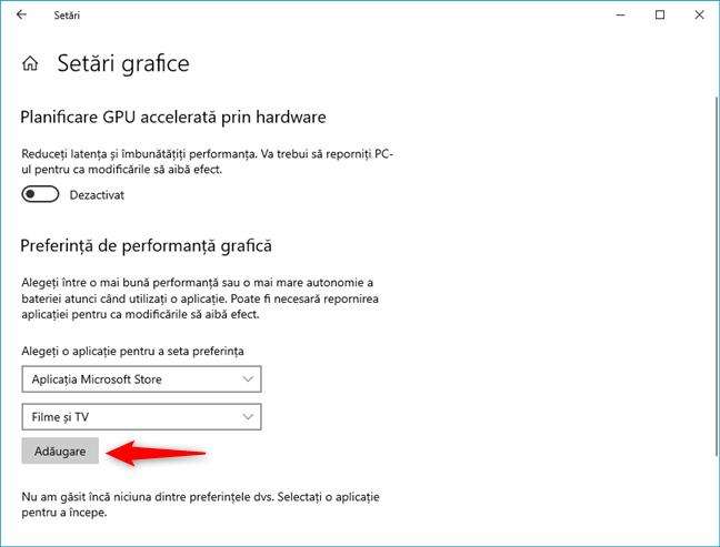 Adaugă o aplicație Microsoft Store pentru care să schimbi placa video utilizată