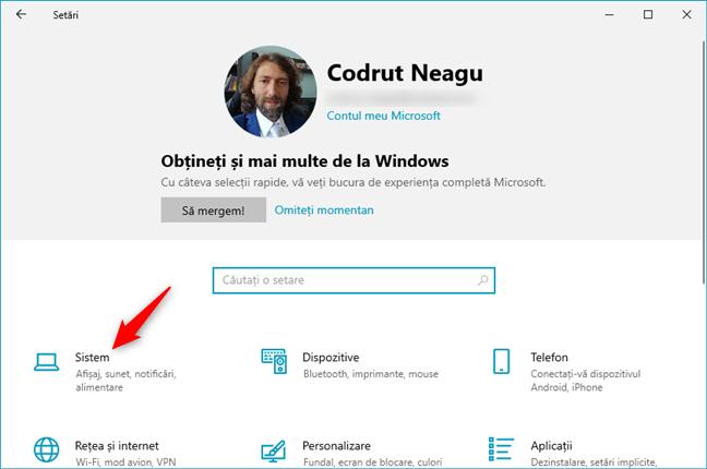 Categoria Sistem din Setările Windows 10