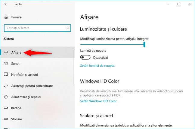 Setările de Afișare din Windows 10