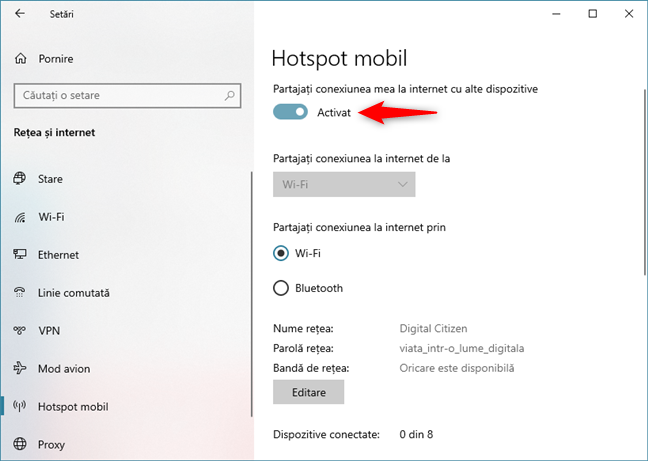 Activarea hotspotului Windows 10