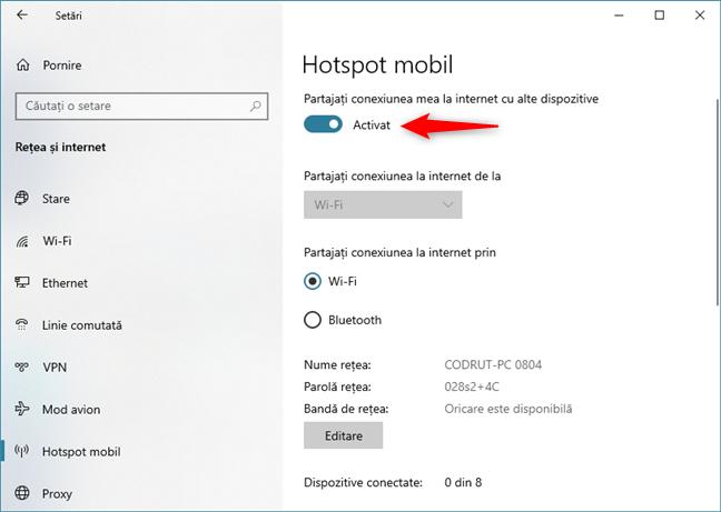 Activarea hotspotului mobil Windows 10