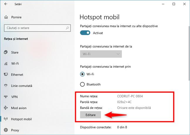 Editarea setărilor hotspotului Windows 10