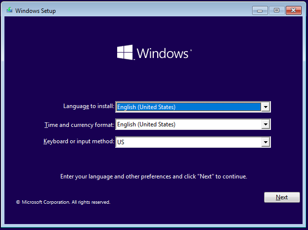 Windows 10 Setup - Alege limba, timpul și tastatura pe care vrei să le folosești