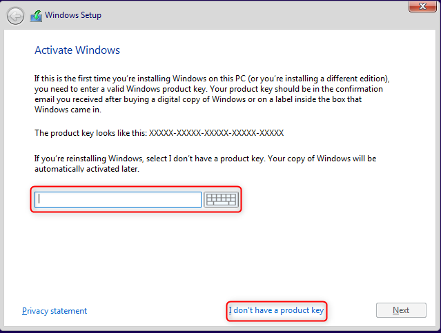 Introdu cheia de activare pentru Windows 10
