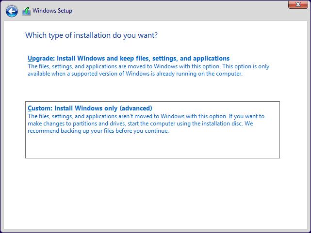 Dă clic sau apasă pe Custom: Install Windows only (advanced)