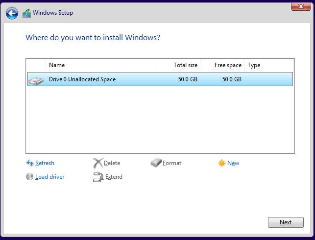 Alege partiția unde vrei să instalezi Windows 10