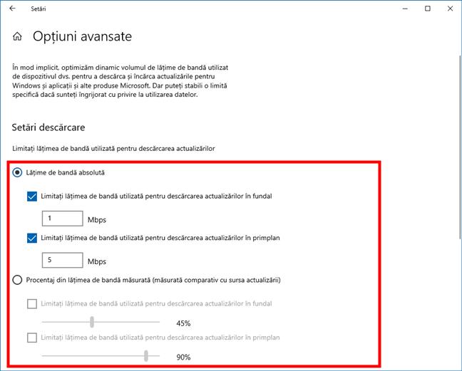 Lățime de bandă Windows 10: Limite descărcare pentru Windows Update