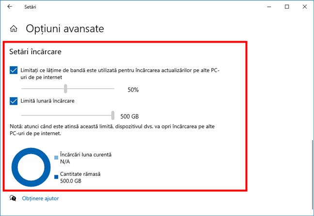 Lățime de bandă Windows 10: Limite de încărcare pentru Windows Update