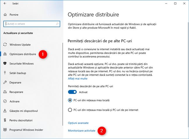 Accesare Monitorizare activitate în Optimizare distribuire