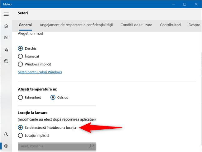 Setează aplicația Meteo din Windows 10 pentru a detecta automat locația