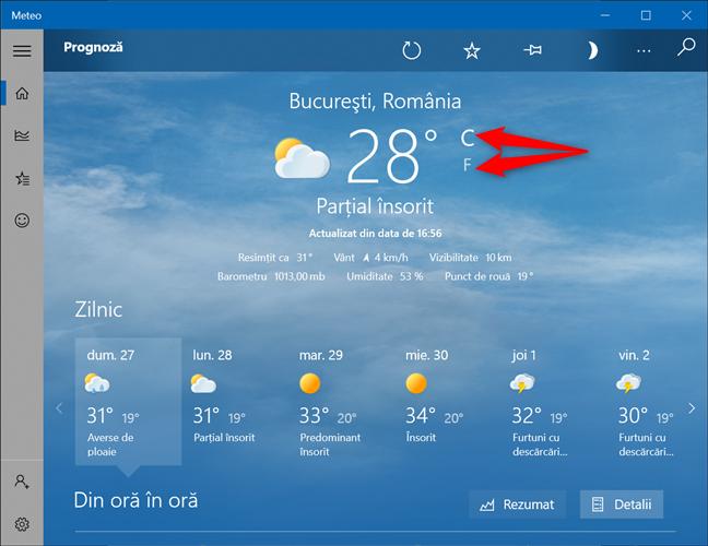 Decide cum vrei să afișezi temperatura