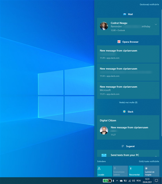 Cum arată Centrul de acțiuni din Windows 10