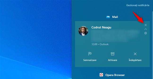 Anularea unei notificări în Centrul de acțiuni din Windows 10