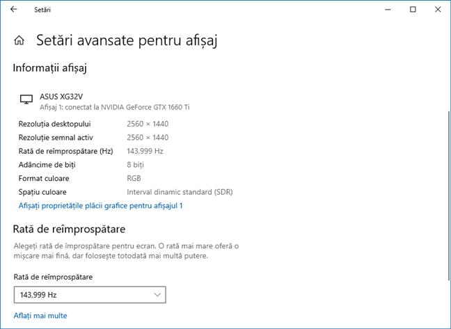 Windows 10 October 2020 Update: Rata de reîmprospătare a monitorului este disponibilă în Setări