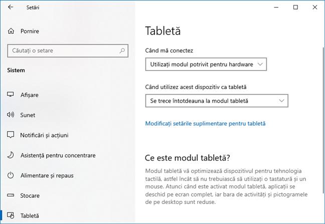 Windows 10 October 2020 Update: Modul Tabletă este activat automat