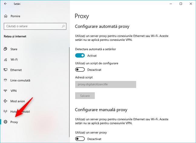 Setările proxy din Windows 10 se găsesc în Proxy, în aplicația Setări