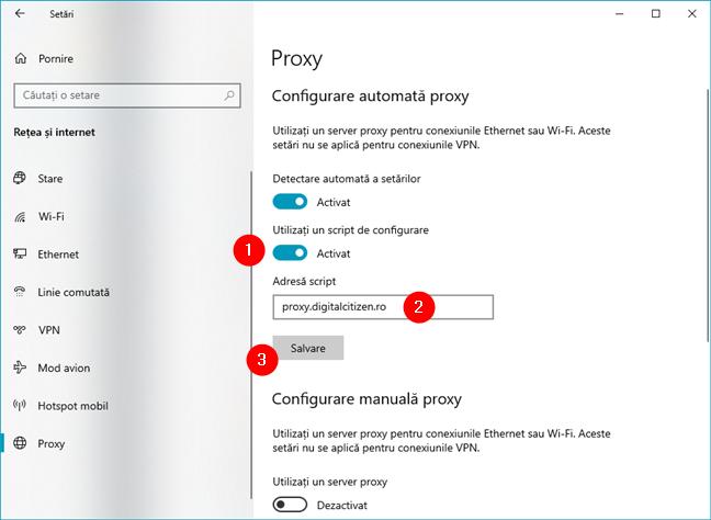 Cum configurezi setăirle proxy folosind o adresă de script
