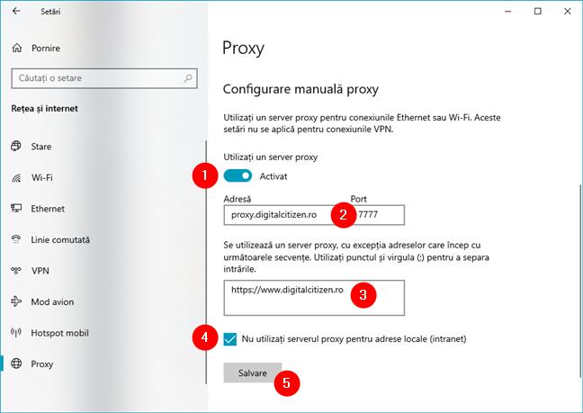 Cum configurezi manual setările proxy