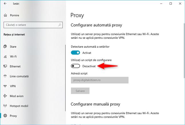 Cum dezactivezi un server proxy care folosește o adresă proxy