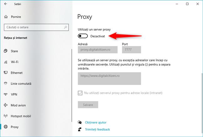 Cum dezactivezi un server proxy configurat manual