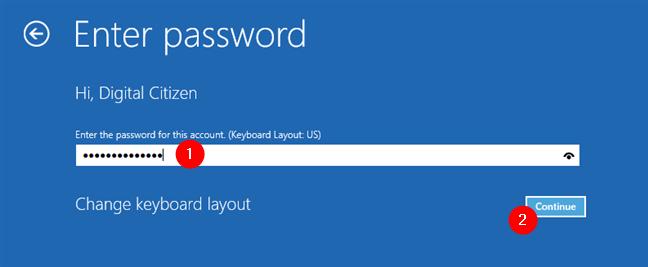 Introducerea parolei contului de utilizator
