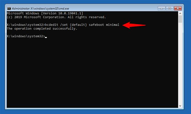 Cum pornești Windows 10 în Safe Mode din Command Prompt