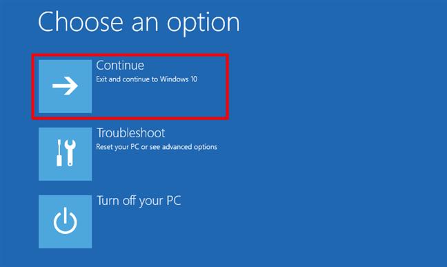 Continuă către Windows 10 în Safe Mode