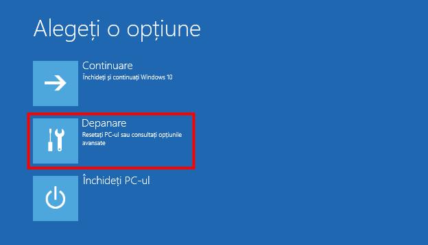 Depanare Windows 10