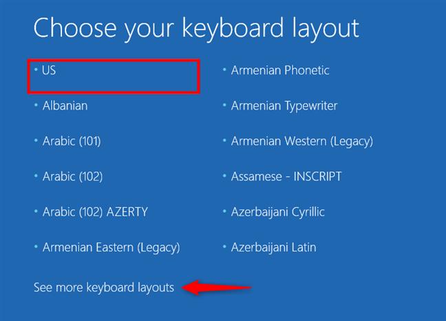 Alege tastatura pentru unitatea de recuperare