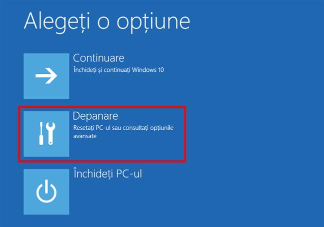 Alege depanarea pentru a ajunge la setările Windows 10 Safe Mode