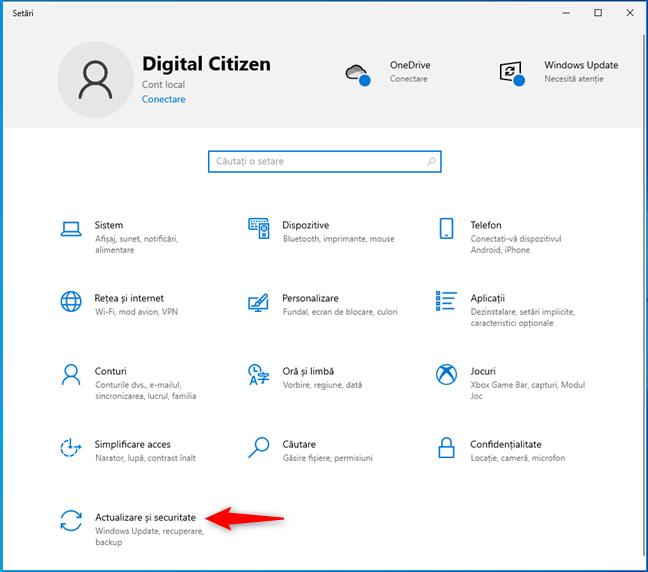 Actualizare și securitate în aplicația Setări din Windows 10