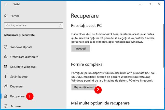 Opțiuni de recuperare pentru Windows 10