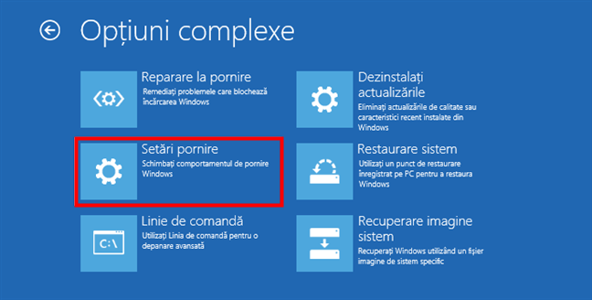 Setări pornire Windows 10