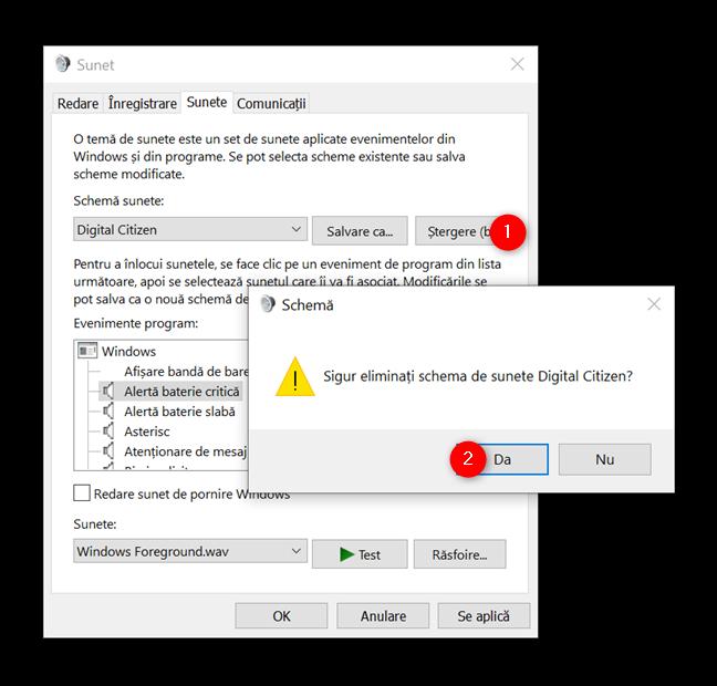 Cum ștergi o schemă de sunete din Windows 10