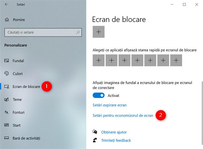 Accesează linkul Setări pentru economizorul de ecran din fila Ecran de blocare