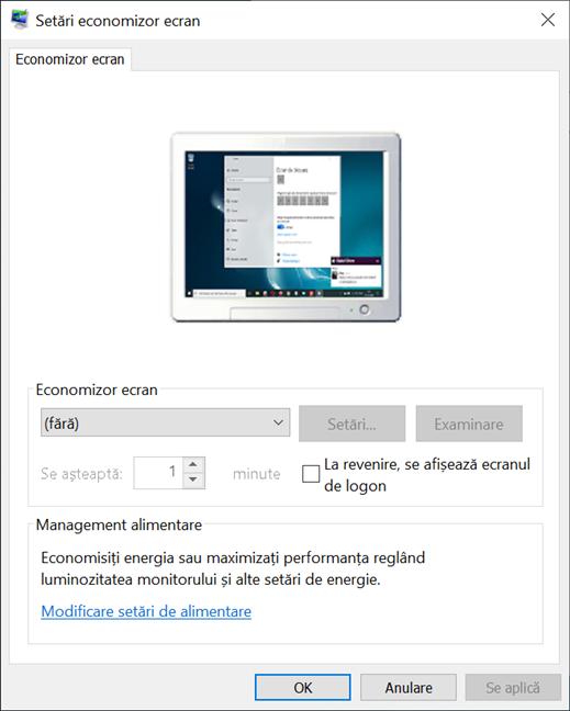 Fereastra Setări economizor ecran din Windows 10