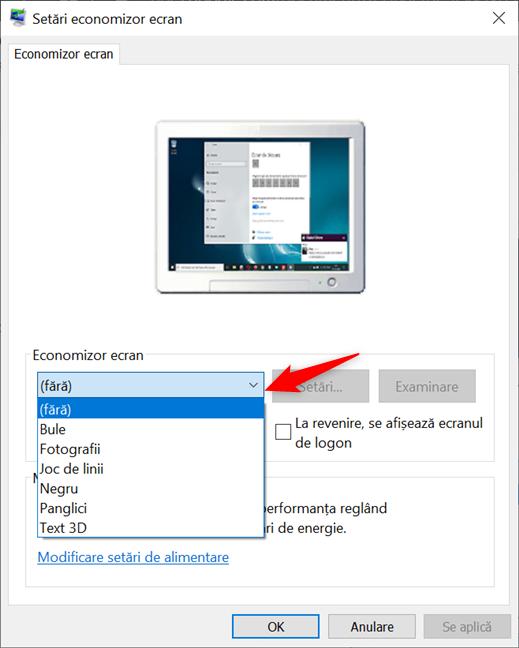 Accesează meniul derulant Economizor ecran pentru a vedea opțiunile disponibile în Windows 10