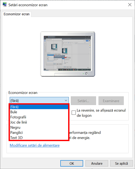 Selectează opțiunea Economizor ecran pe care vrei s-o folosești în Windows 10