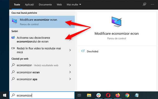Folosește Căutarea pentru a seschide setările screensaver din Windows 10