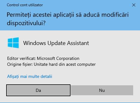 Apasă Da pentru a rula Windows 10 Update Assistant