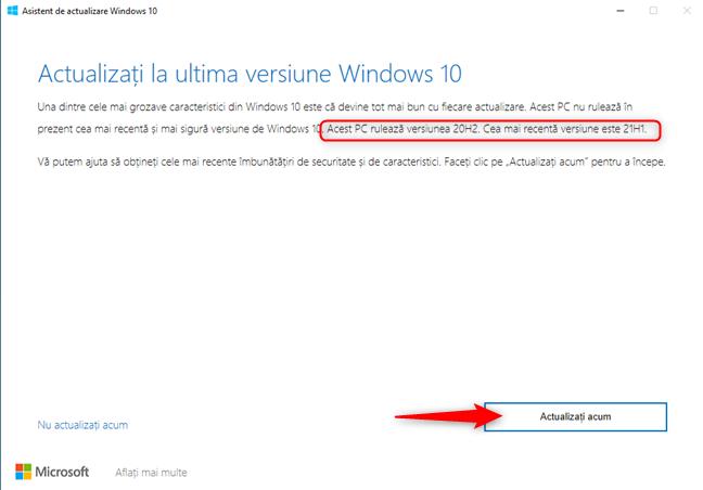 Windows 10 Update Assistant - Apasă pe Actualizați acum