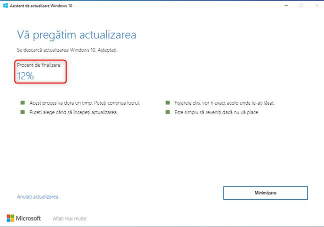 Windows 10 Update Assistant - Se descarcă fișierele pentru actualizare