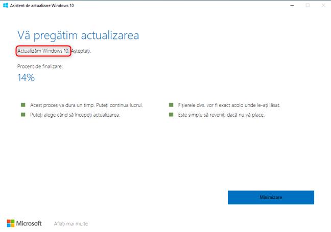 Windows 10 Update Assistant instalează actualizarea