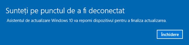 PC-ul va reporni pentru a finaliza actualizarea