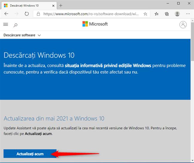 Descarcă Windows 10 Update Assistant