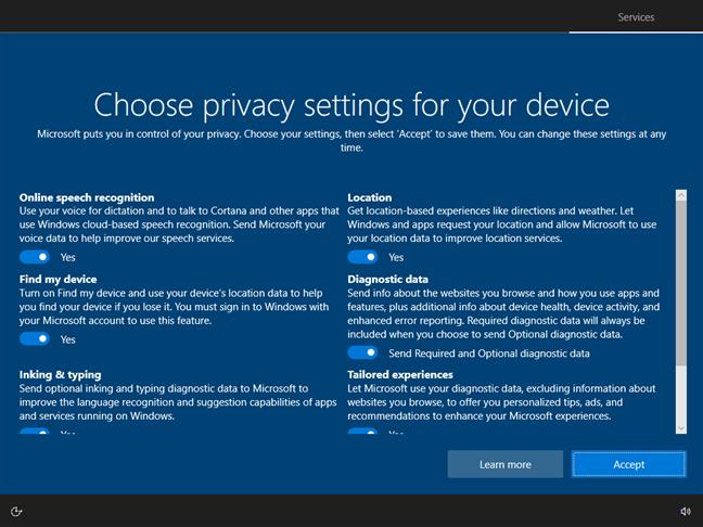 Alegerea setărilor de confidențialitate pentru Windows 10