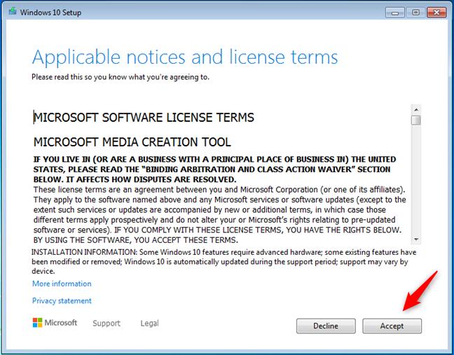 Termeni de licență pentru Windows 10